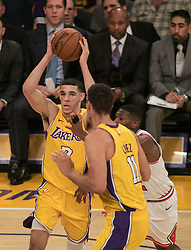 November 21, 2017 - Los Angeles, California, United States of America - Lonzo Ball #2 of the Los Angeles Lakers  looks to pass the ball during their game with the Chicago Bulls on Tuesday November 21, 2017 at the Staples Center in Los Angeles, California. Lakers defeat Bulls, 103-94. JAVIER ROJAS/PI (Credit Image: © Prensa Internacional via ZUMA Wire)