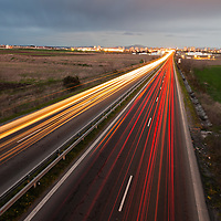 Highway in twilight with long exposition