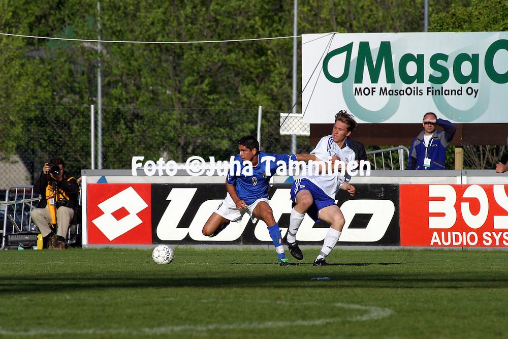 10.06.2003, Pohjola Stadion, Vantaa, Finland..UEFA Under-21 European Championship Qualifying match, Finland v Italy.Marco Borriello (Italy) v Ari Nyman (Finland).©Juha Tamminen