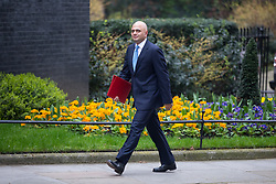 © Licensed to London News Pictures. 12/04/2018. London, UK. Housing, Communities and Local Government Secretary Sajid Javid arriving in Downing Street to attend a 'War Cabinet' meeting this afternoon. Discussion is expected on Britain's involvement on military action in Syria, following a suspected chemical attack. Photo credit : Tom Nicholson/LNP