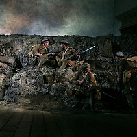 First Light by Mark Hayhurst<br /> Directed by Jonathan Munby<br /> Andrew Westfield as Company Sergeant Major Deakin<br /> Cast of soldiers<br /> Minerva Theatre, Chichester Festival Theatre, UK<br /> 15 June 2016