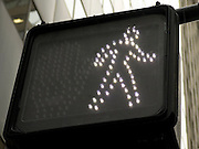 close up of an pedestrian walk traffic sign NYC