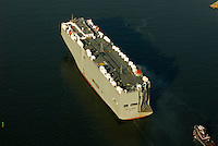 Aerial photograph of the Ocean Highway Car Container in the New York Harbor.