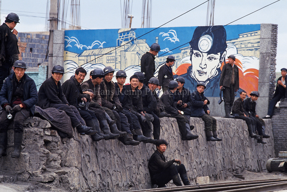 Miners taking a break before going to work, Datong, China, 1993