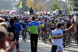 Peloton on refreshment during the Men's Elite Road Race at the UCI Road World Championships on September 25, 2011 in Copenhagen, Denmark. (Photo by Marjan Kelner / Sportida Photo Agency)