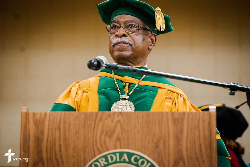 Dr. James Lyons, college transitional president, gives closing remarks during the 92nd and final Commencement Exercises on Saturday, April 28, 2018, in the Julius and Mary Jenkins Center at Concordia College Alabama in Selma, Ala. LCMS Communications/Erik M. Lunsford