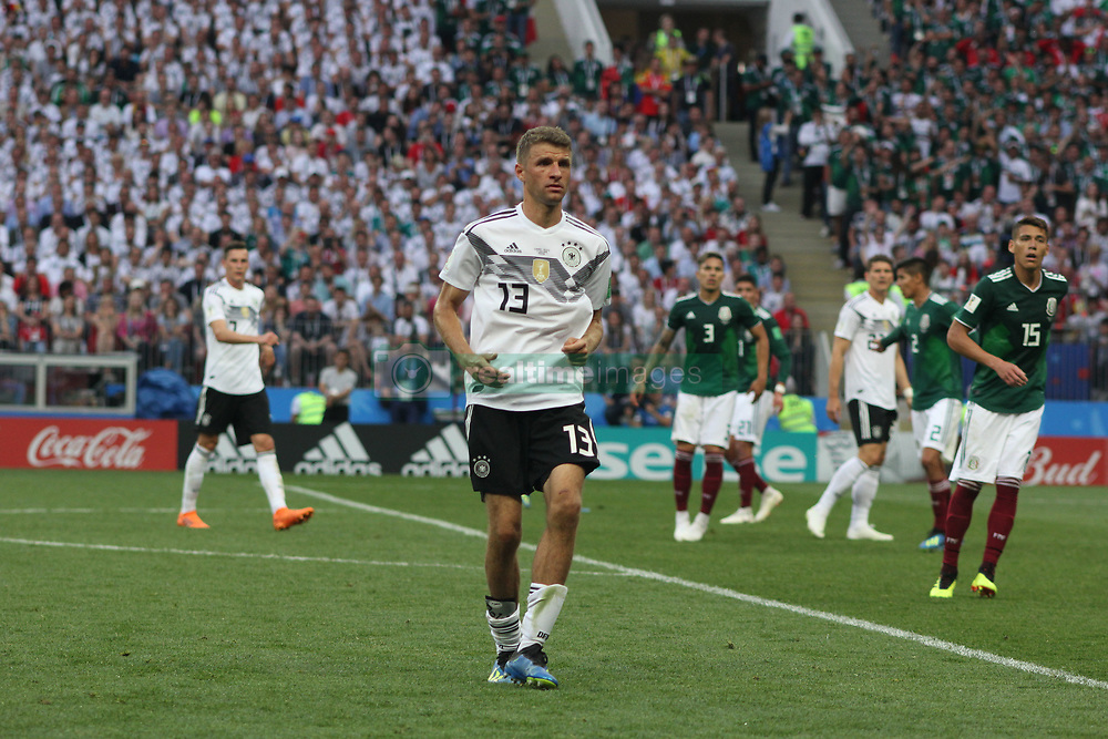June 17, 2018 - Moscow, Russia - June 17, 2018, Russia, Moscow, FIFA World Cup, First round, Group F, Germany vs Mexico at the Luzhniki stadium. Player of the national team Main coach; trainer; Thomas Muller. (Credit Image: © Russian Look via ZUMA Wire)