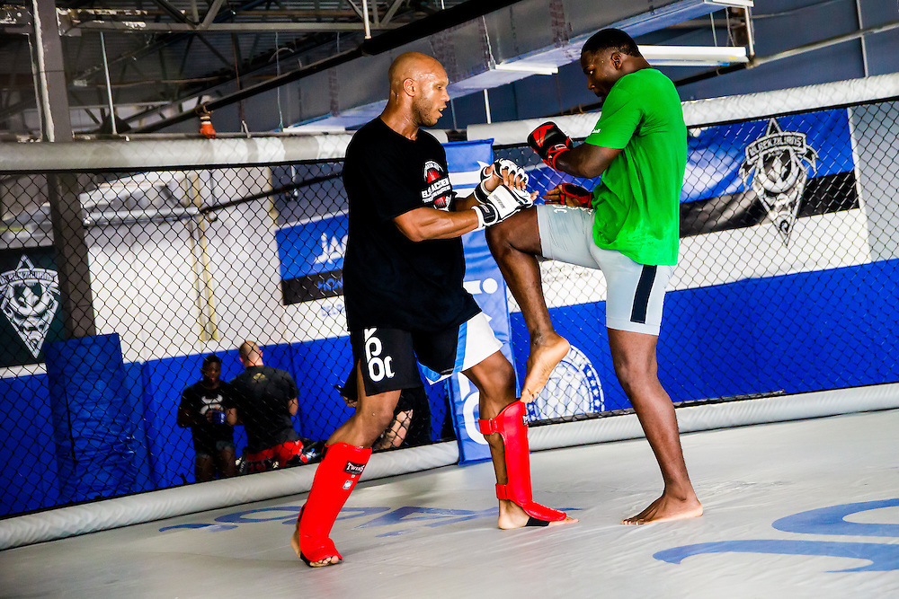 "BOCA RATON, Fla. (April 27, 2015) – MMA fighter Anthony ""Rumble"" Johnson spars with Linton Vassell during training for his upcoming match against Jon Jones - who was replaced by Daniel Cromier after Jones' legal issues - at Jaco Hybrid Training Center in Boca Raton, Florida. (Photo by Chip Litherland for ESPN the Magazine)"