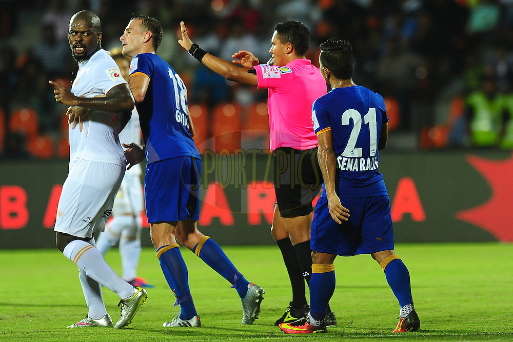 Romaric of NorthEast United FC argues with match referee during match 7 of the Indian Super League (ISL) season 3 between Mumbai City FC and NorthEast United FC held at the Mumbai Football Arena in Mumbai, India on the 7th October 2016.<br /> <br /> Photo by Faheem Hussain / ISL/ SPORTZPICS