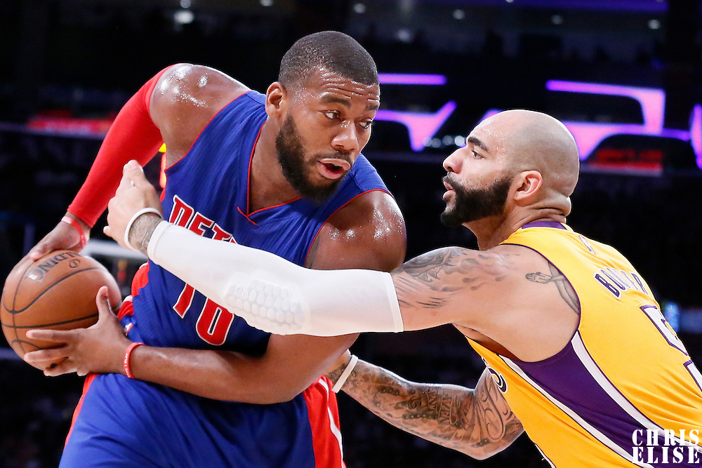 10 March 2015: Los Angeles Lakers forward Carlos Boozer (5) defend on Detroit Pistons forward Greg Monroe (10) during the Los Angeles Lakers 93-85 victory over the Detroit Pistons, at the Staples Center, Los Angeles, California, USA.