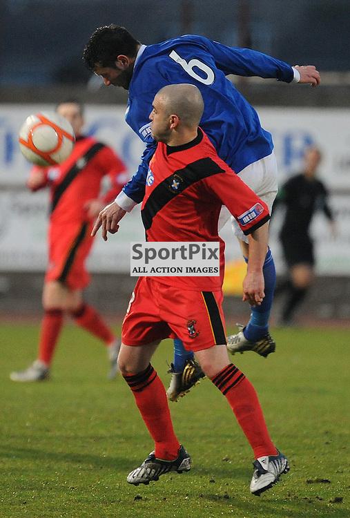 East Fife V Peterhead, Bayview Stadium, 15-05-2013..Dean Cowie out jumps Darren Smith..(c) David Wardle   StockPix.eu