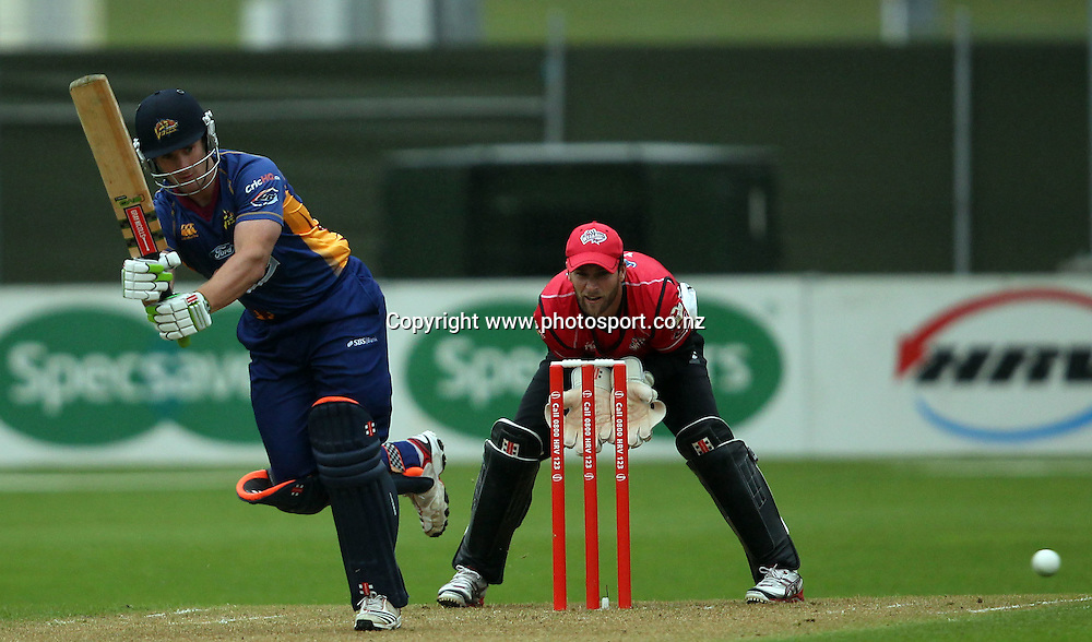 Neil Broom works the ball away for the Volts.<br /> Twenty20 Cricket - HRV Cup, Otago Volts v Canterbury Wizards, 13 January 2012, University Oval, Dunedin, New Zealand.<br /> Photo: Rob Jefferies/PHOTOSPORT