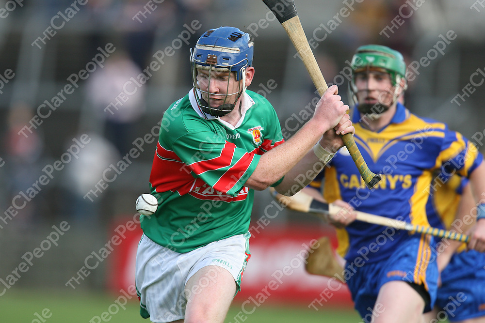 Enda Harrison  in action during the Clare County Hurling Intermediate final between Clooney/Quin and Killanena at Cusack park on Sunday.<br />
