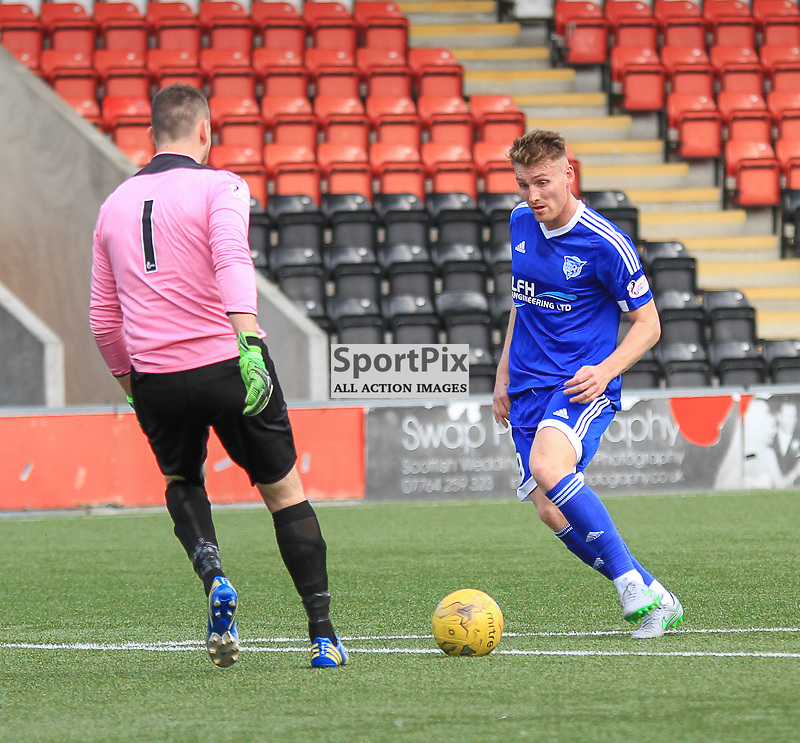 Airdrieonians V Peterhead  Scottish League One 29 August 2015;  Peterhead's Rory McAllister tries to round Airdrie's Neil Parry during the Airdrieonians V Peterhead Ladbrokes Scottish League One match played at Excelsior Stadium, Airdrie.