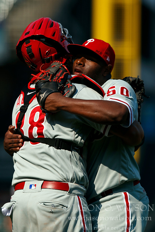 SAN FRANCISCO, CA - AUGUST 20: Hector Neris #50 of the Philadelphia Phillies celebrates with Jorge Alfaro #38 after the game against the San Francisco Giants at AT&T Park on August 20, 2017 in San Francisco, California. The Philadelphia Phillies defeated the San Francisco Giants 5-2. (Photo by Jason O. Watson/Getty Images) *** Local Caption *** Hector Neris; Jorge Alfaro