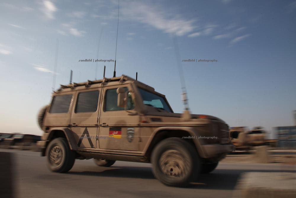 """A armored german military vehicle (""""Wolf"""") drive through the Camp Marmal, Mazar-e Sharif"""