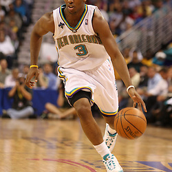 22 April 2008:New Orleans Hornets guard Chris Paul #3 dribble down the court in the second half of the Hornets Game 2 first-round playoff game against the Dallas Mavericks a 127-103 victory for the Hornets at the New Orleans Arena in New Orleans, Louisiana. .