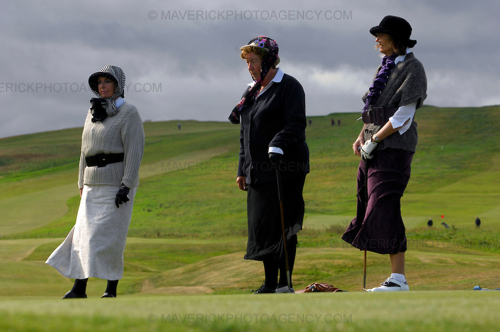 The PGA World Hickory Golf Open is being held at Gullane Golf Club on Thursday and Friday, 24th and 25th September 2009 featuring professional golf champions and amateurs in traditional 1930s period costume with six pre-1936 hickory shafted clubs in pencil golf bags...Picture shows female hickory golfers on the course.