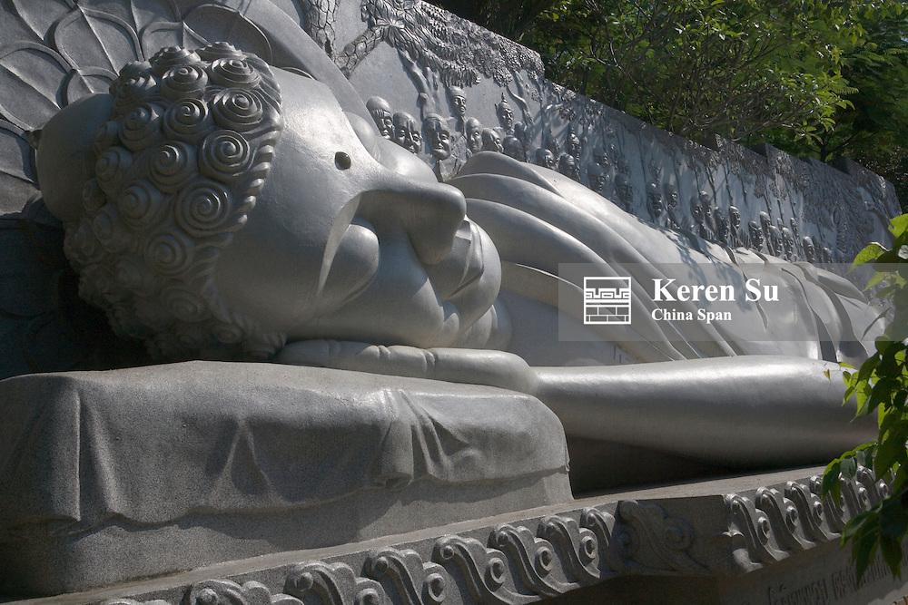Reclining Buddha at Long Son Pagoda.