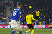 Adrian Mariappa (6) of Watford heads the ball during the Premier League match between Leicester City and Watford at the King Power Stadium, Leicester, England on 4 December 2019.