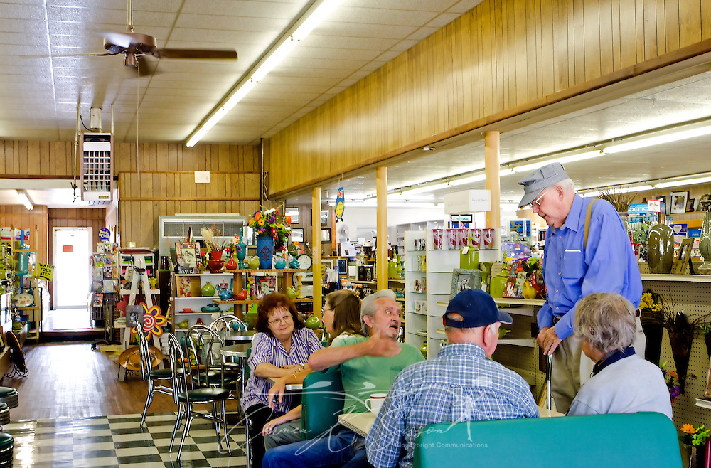 Customers talk and eat at Turnage Drug Store in Water Valley, Mississippi. (Photo by Carmen K. Sisson/Cloudybright)