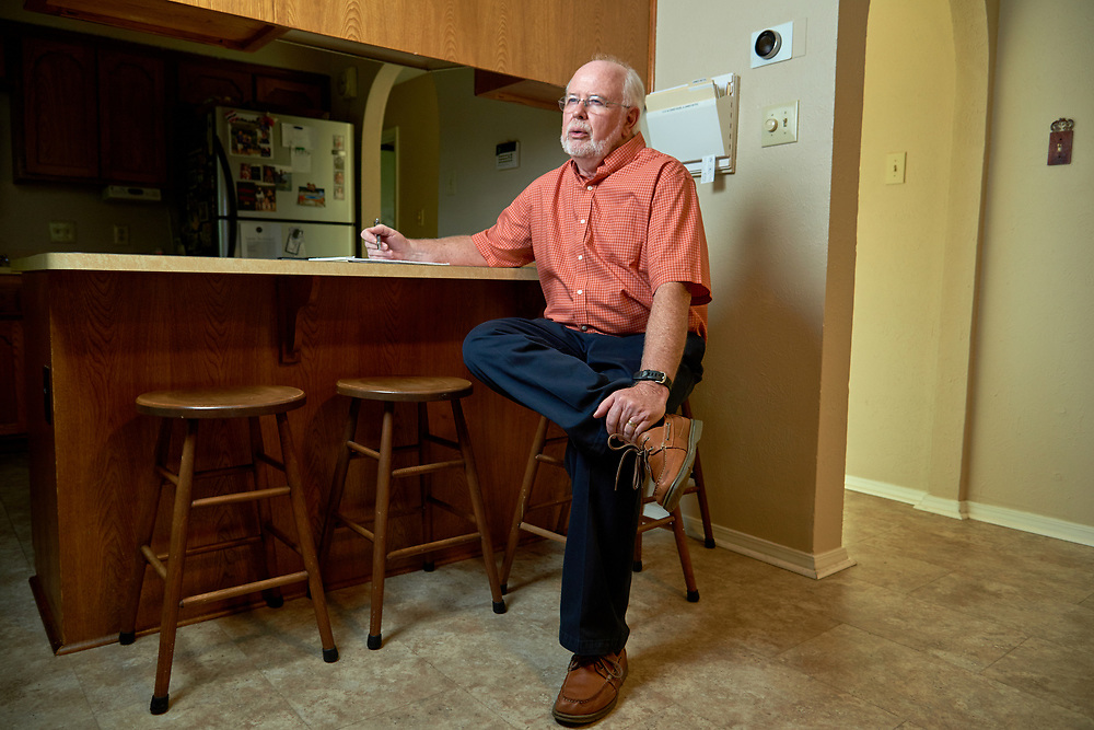 Jim Bates poses for a photo at his home in Watauga, Texas on August 7, 2017. (Cooper Neill for BuzzFeed News)