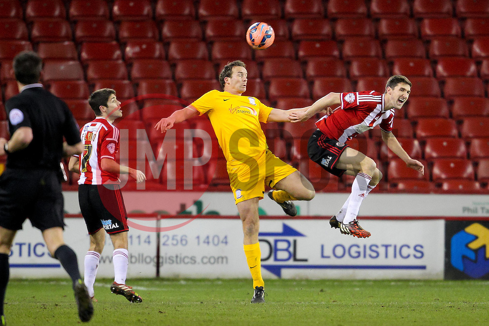 Kevin Davies of Preston North End wins a header - Photo mandatory by-line: Matt McNulty/JMP - Mobile: 07966 386802 - 03/02/2015 - SPORT - Football - Sheffield - Bramall Lane - Sheffield United v Preston North End - FA Cup - Forth Round