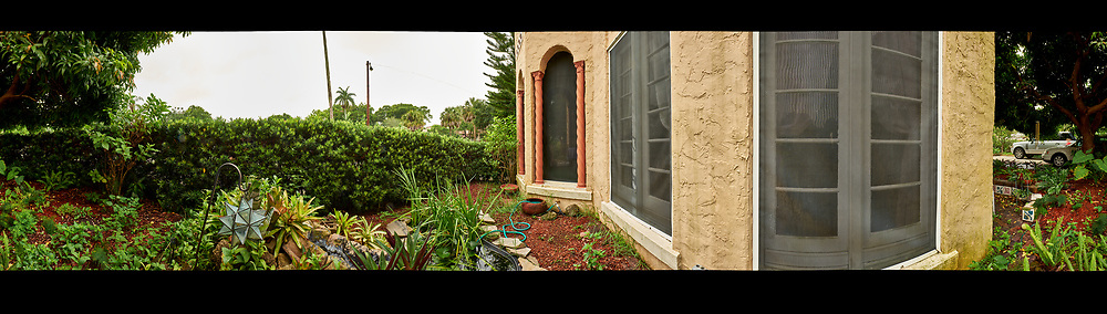 Backyard Urban Garden 360 Panorama in St Petersburg.  Composite of 73 images taken with a Fuji X-T1 camera and 16 mm f/1.4 lens (ISO 200, 16 mm, f/16, 1/8 sec). Raw images processed with Capture One Pro, and Autopano Giga Pro.