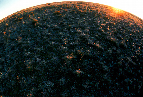 Stock photo of a fish-eye view of the sun setting on the horizon of frozen West Texas plains