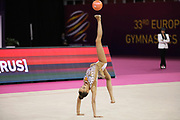 Arina Averina, Russia, wins gold on ball at the 33rd European Rhythmic Gymnastics Championships at Papp Laszlo Budapest Sports Arena, Budapest, Hungary on 21 May 2017. Photo by Myriam Cawston.
