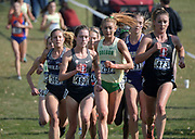 Nov 9, 2018; Sacramento, CA, USA; Fiona O'Keeffe (480) of Stanford, Jessica Hull (257) of Oregon and Elise Cranny (473) of Stanford run in the women's race and during the NCAA West Regional at Haggin Oaks Golf Course.