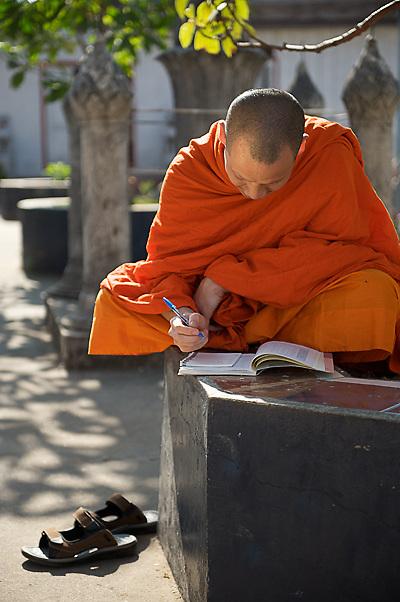 Laos - Luang Prabang Monk Gifting and temple visit