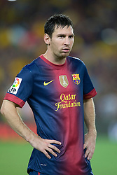Lionel Messi of Barcelona clears his throat before the game.  Barcelona v Real Madrid, Supercopa first leg, Camp Nou, Barcelona, 23rd August 2012...Credit - Eoin Mundow/Cleva Media.