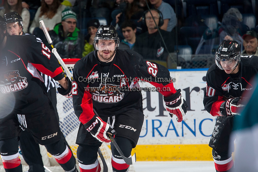 KELOWNA, CANADA - DECEMBER 30: Chance Braid #22 of Prince George Cougars celebrates a goal against the Kelowna Rockets on December 30, 2014 at Prospera Place in Kelowna, British Columbia, Canada.  (Photo by Marissa Baecker/Shoot the Breeze)  *** Local Caption *** Chance Braid;