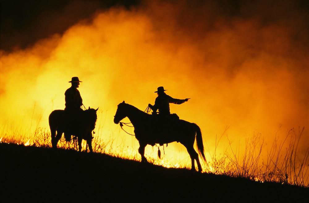 Spring burning of the Flint Hills in Kansas.
