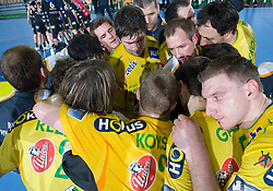 Team of Celje after the 1st Main round of EHL Champions League match between RK Celje Pivovarna Lasko (SLO) and Rhein Neckar Lowen (GER), on February 14, 2009, in Arena Zlatorog, Celje, Slovenia. Rhein Neckar Lowen won 34:28.  (Photo by Vid Ponikvar / Sportida)