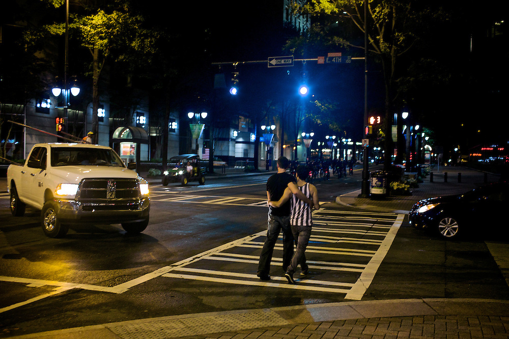 A couple walks home after a night out a day before the 2012 Democratic National Convention in Charlotte, N.C. on Sept. 2, 2012. Photo by Greg Kahn