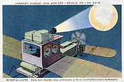 Early 20th century trade card imagining fashionable travel in 2012.  Returning to the Moon in a private biplane.  In eight hours it has been possible to go to Paris and buy  Chocolat Lombard.   Flying Aviation Aeronautics