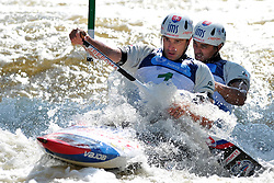 June 2, 2018 - Prague, Czech Republic - Ladislav Skantar and Peter Skantar of Slovakia in action during the Men's C2 finals at the European Canoe Slalom Championships 2018 at Troja water canal in Prague, Czech Republic, 02 June 2018. (Credit Image: © Slavek Ruta via ZUMA Wire)