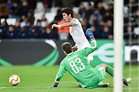 Hiroki Sakai of Marseille and Bruno Vale of Limassol during the Europa League match between Olympique Marseille and Apollon Limassol on December 13, 2018 in Marseille, France. (Photo by Alexandre Dimou/Icon Sport)