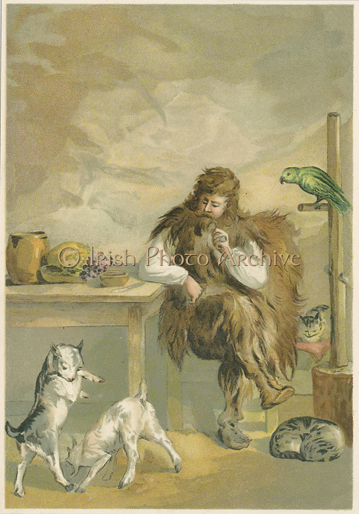 Robinson Crusoe about twenty years after shipwreck, in his cave with 'family' of pet parrot, cats and kids. From Daniel Defoe 'The Life and Strange Surprising Adventures of Robinson Crusoe', London 1892, illustrated by John Dawson Watson (1832-1892). Book first published 1719.