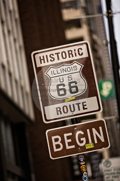 Sign marking the start of historic Route 66 at Adams Street at Michigan Avenue in Chicago USA