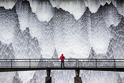 © Licensed to London News Pictures. 15/03/2019. Shap UK. Water from Wet Sleddale reservoir near Shap in Cumbria cascades down the dam this morning after heavy rainfall in Cumbria. Photo credit: Andrew McCaren/LNP
