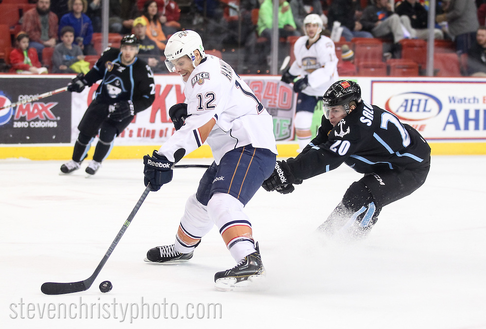 January 18, 2014: The Oklahoma City Barons play the Milwaukee Admirals in an American Hockey League game at the Cox Convention Center in Oklahoma City.