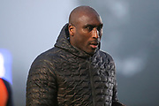 Southend United manager Sol Campbell walking off the pitch during the EFL Sky Bet League 1 match between AFC Wimbledon and Southend United at the Cherry Red Records Stadium, Kingston, England on 1 January 2020.