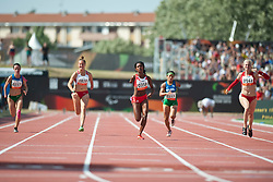 FINDER Sheila, FIODOROW Alicja, CASTILLO Yunidis, SANTOS Teresinha, RODOMAKINA Nikol, BRA, POL, CUB, RUS, 100m, T46, 2013 IPC Athletics World Championships, Lyon, France