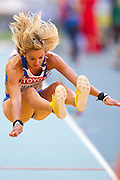 Sofia Yfantidou from Greece competes in women's long jump while heptathlon during the 14th IAAF World Athletics Championships at the Luzhniki stadium in Moscow on August 13, 2013.<br /> <br /> Russian Federation, Moscow, August 13, 2013<br /> <br /> Picture also available in RAW (NEF) or TIFF format on special request.<br /> <br /> For editorial use only. Any commercial or promotional use requires permission.<br /> <br /> Mandatory credit:<br /> Photo by &copy; Adam Nurkiewicz / Mediasport