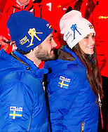 18-2-2014 - FALUN  Prince Carl Philip and fiancée Sofia Hellqvist . The opening ceremony of the Falun 2015 FIS Nordic World Ski Championships 2015 in Sweden . COPYRIGHT ROBIN UTRECHT