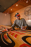Skwachays Artist, Eric Parnell<br /> <br /> Boardroom Table Painting<br /> <br /> photo: Craig Minielly / Aura Photographics