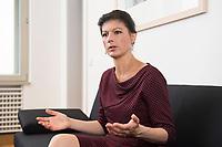 16 MAY 2016, BERLIN/GERMANY:<br /> Sahra Wagenknecht, MdB, Die Linke, Fraktionsvorsitzende DIe Linke Bundestagsfraktion, waehrend einem Interview, in ihrem Buero, Jakob-Kaiser-Haus, Deutscher Bundestag<br /> IMAGE: 20170516-02-041<br /> KEYWORDS: B&uuml;ro